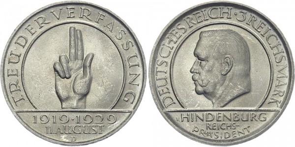 Weimarer Republik 3 Mark 1929 D Schwurhand