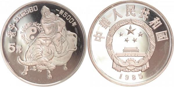 China 5 Yuan 1885 - Lao Tse auf Wasserbüffel