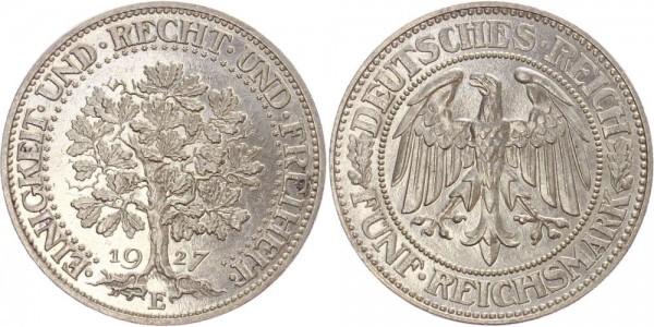 Weimarer Republik 5 Mark 1927 E Eichbaum