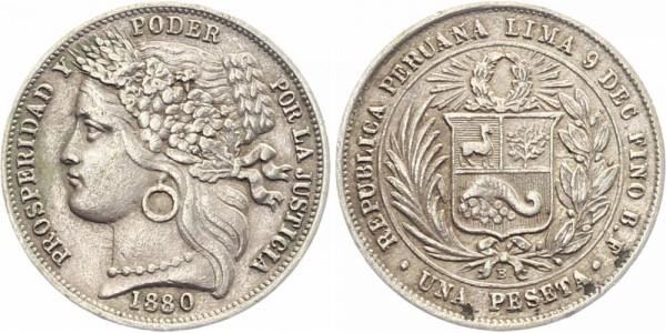 Peru 1 Pesete 1880