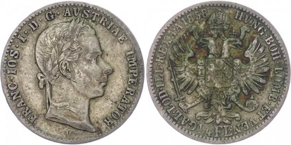 Österreich 1/4 Florin 1858 V (Venedig) Franz Josef