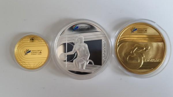 Australien 100 Dollar + 5 Dollar + 5 Dollar 2000 The Perth Mint Paralympic Games Sydney 2000; Three-