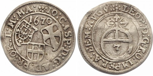 Nürnberg 3 Kreuzer 1670 - Leopold