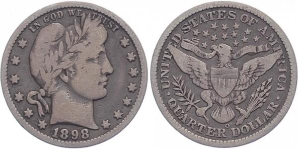 USA 25 Cent 1898 O Barber Quarter