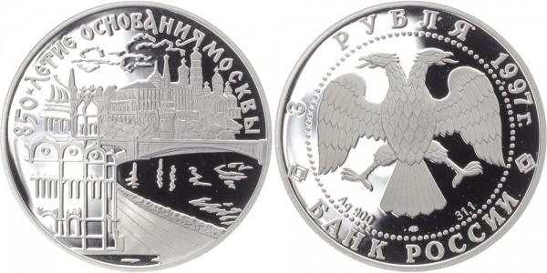 Russland 3 Rubel 1997 - Kreml & Fluss Moskva