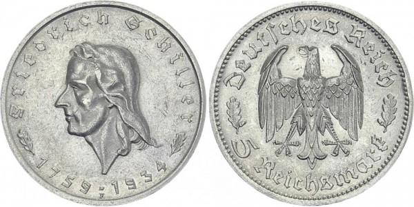 DRITTES REICH 5 Mark 1934 F Schiller