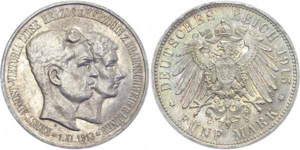 BRAUNSCHWEIG 5 Mark 1915 A Ernst August Regierungsantritt und Hochzeit