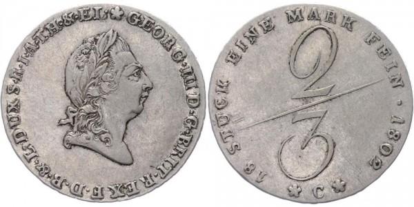 Braunschweig-Lüneburg 2/3 Taler 1802 C Georg III. Kurfürstentum Braunschweig-Lüneburg (1760 - 1821)