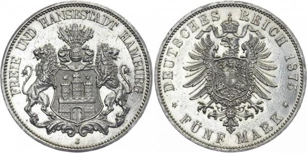 HAMBURG 5 Mark 1875 J Stadtwappen