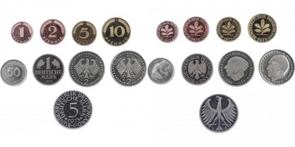 Kursmünzensatz 1 Pf - 5 DM 1973 G