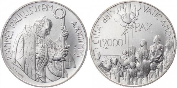 Vatikan 2 000 Lire 2001 Rom Friedensdialog