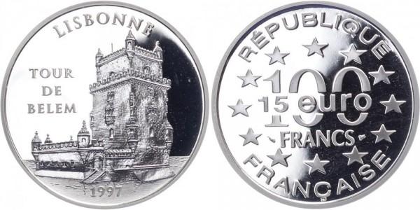 Frankreich 100 Francs/15 Euro 1997 - Turm von Belèm Lissabon