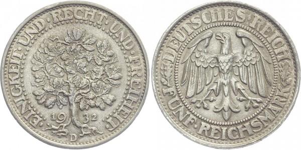 Weimarer Republik 5 Mark 1932 D Eichbaum