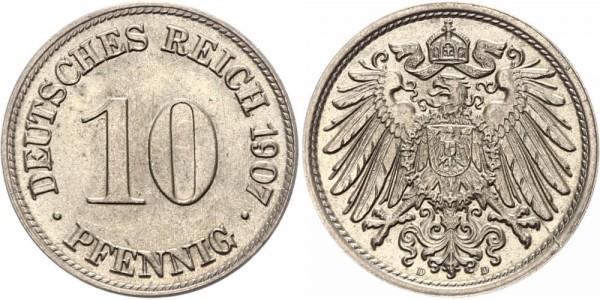 Kaiserreich 10 Pfennig 1907 D Kursmünze