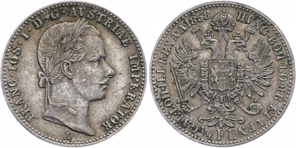 Österreich ¼ Florin 1858 - Kursmünze