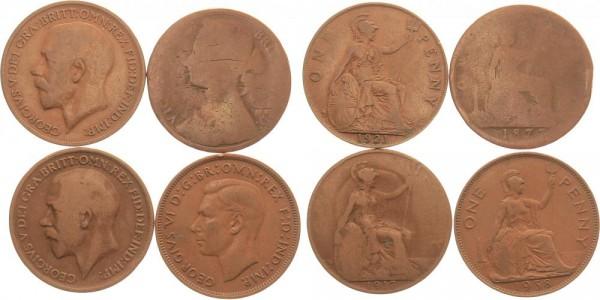 Großbritannien 4x 1 Penny 1873-1938 - Lot