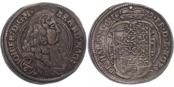 Brandenburg-Ansbach 1/6 Taler 1679 - Johann Friedrich