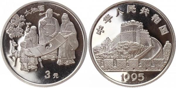 China 3 Yuan 1995 - Ying und Yang
