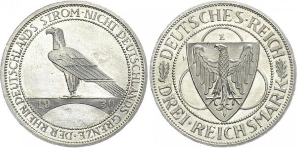Weimarer Republik 3 Mark 1930 E Rheinlandräumung