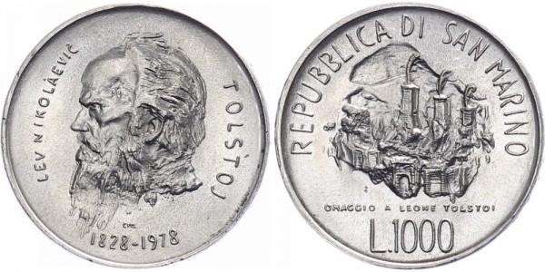 San Marino 1000 Lire 1978 - Leo Tolstoj