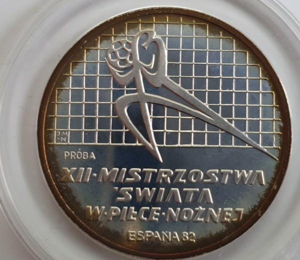 Polen 200 Zloty 1982 Fußballweltmeisterschaft in Spanien, Torwart nach links, PROBE, PP