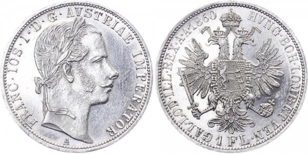 Österreich 1 Florin 1860 A Franz Joseph I.