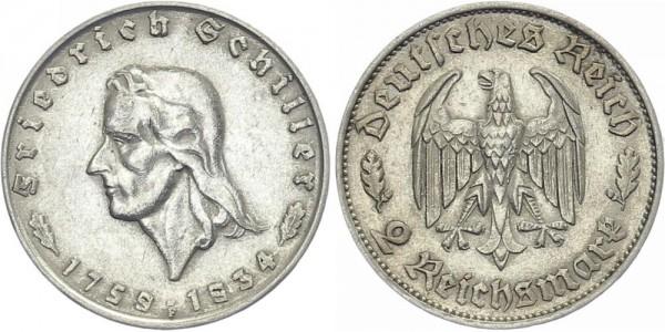 Drittes Reich 2 Mark 1934 F Schiller