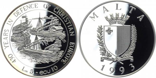 MALTA 5 Lire 1993 - 430 Jahre Verteidigung des christl. Europas