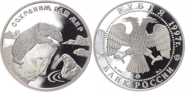 Russland 3 Rubel 1997 - Eisbär