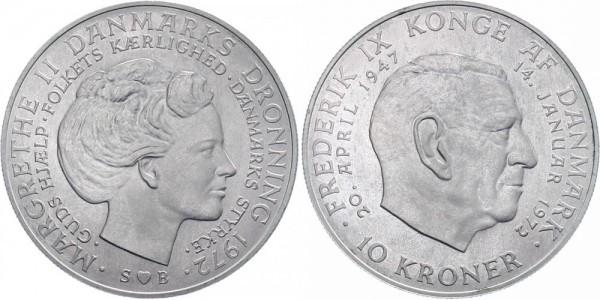 Dänemark 10 Kronen 1972 - Tod Frederik IX.
