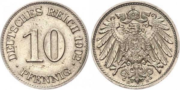 Kaiserreich 10 Pfennig 1902 E Kursmünze