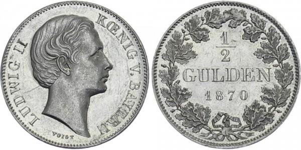 BAYERN ½ Gulden 1870 - Ludwig II. ohne Scheitel