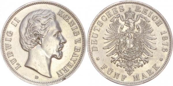 Bayern 5 Mark 1876 D Ludwig II. 1874 - 1876