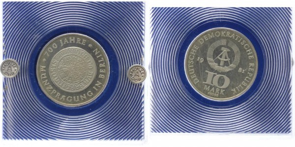 DDR 10 Mark 1981 - 700 Jahre Münzprägung, PROBE