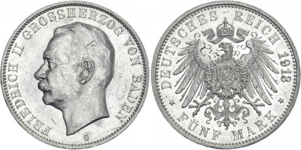BADEN 5 Mark 1913 G Friedrich II.