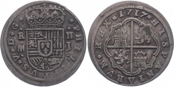 Spanien 2 Reales 1717 Madrid Felipe V.