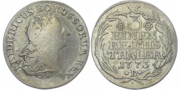 BRANDENBURG 1/3 Reichstaler 1773 B Kursmünze