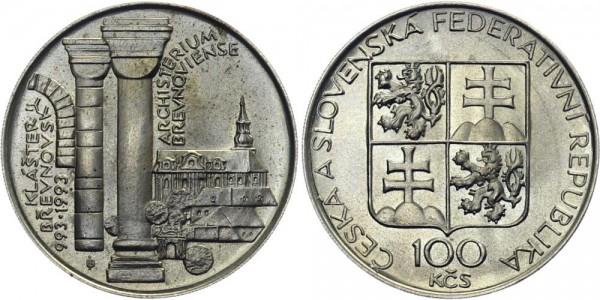 CSFR 100 Kč 1993 - Brevnovsky Monastery