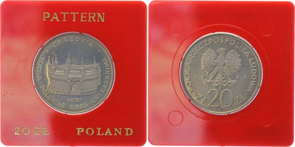 Polen 20 Zlotych 1981 Probe Restaurierung Krakaus