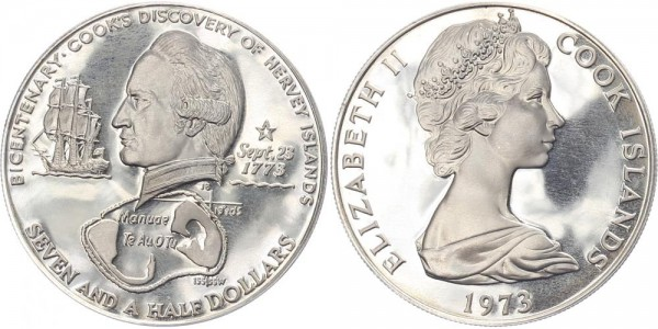 Cook Island 7,5 Dollars 1973 - Entdeckung Hervey Inseln