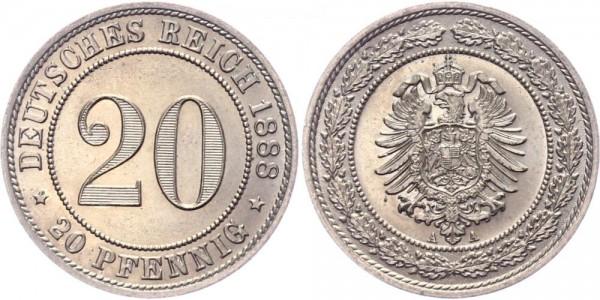 Deutsches Reich 20 Pfennig 1888 A Wilhelm I. großer Adler