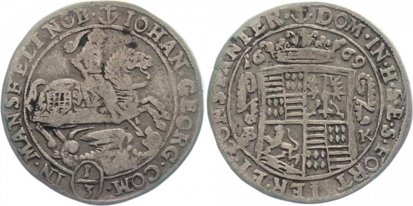 Mansfeld 1/3 Taler 1669 - Johann Georg III
