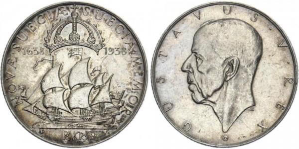 SCHWEDEN 2 Kronen 1938 - 300 J. Entdeckung von Neuschweden und Delaware