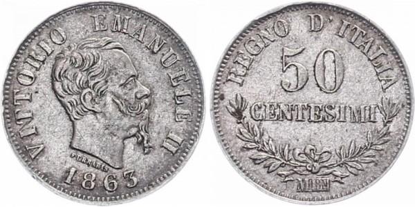 Italien 50 centesimi 1863 - Kursmünze