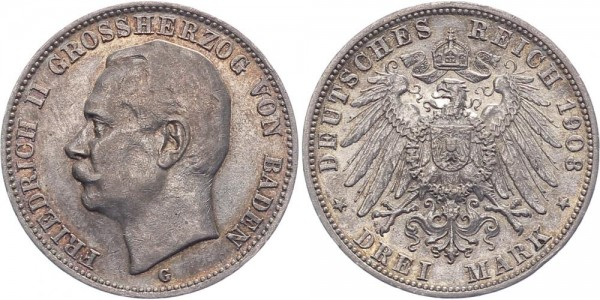 Baden 3 Mark 1908 G Friedrich II.