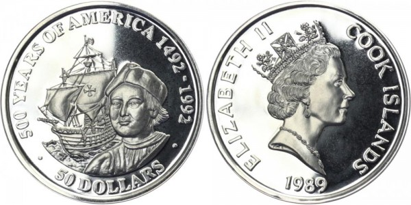 COOK ISLANDS 50 Dollars 1989 - 500 J. Entdeckung Amerikas