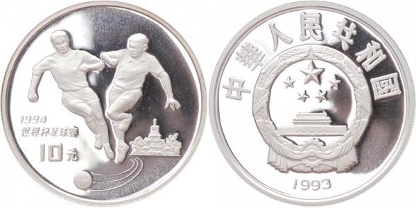 China 10 Yuan 1993 - Fussball WM 1994