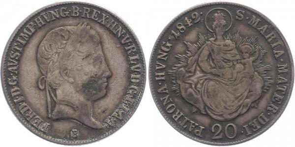 Haus Habsburg 20 Kreuzer 1842 B Ferdinand I., Ungarn