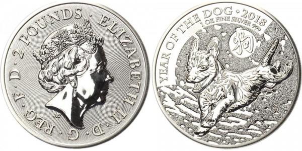 Großbritannien 2 Pfund 2018 - Jahr des Hundes