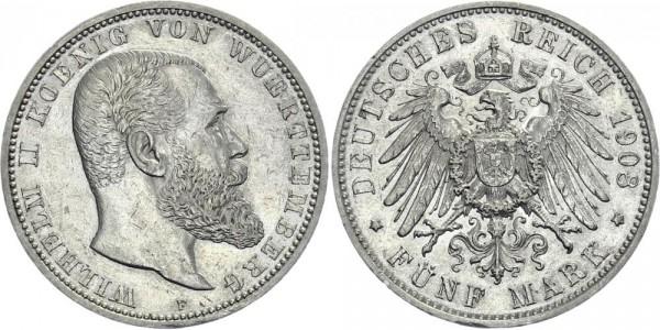 WÜRTTEMBERG 5 Mark 1908 F Wilhelm II.